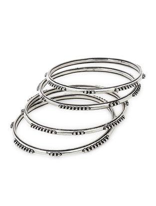 Classic Silver Bangles Set of 4 (Bangle Size -2/6)
