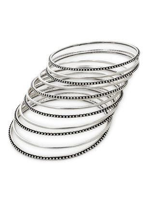 Classic Silver Bangles Set of 12 (Bangle Size -2/10)