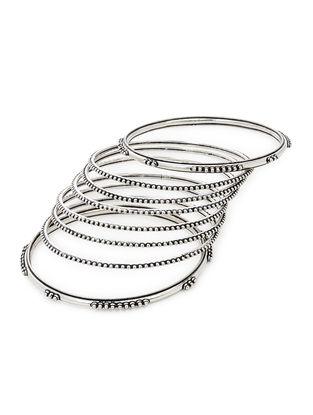 Classic Silver Bangles Set of 8 (Bangle Size -2/8)