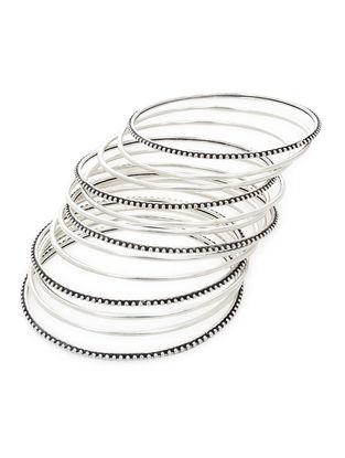 Classic Silver Bangles Set of 13 (Bangle Size -2/8)