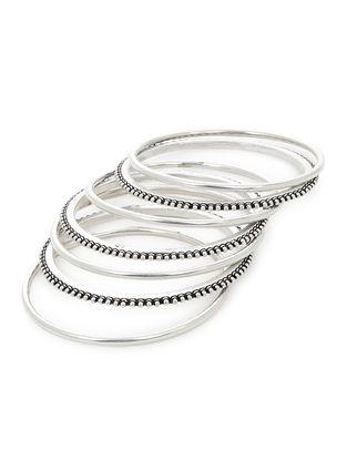 Classic Silver Bangles Set of 7 (Bangle Size -2/6)