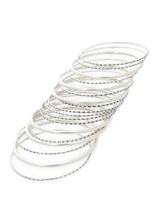 Classic Silver Bangles Set of 18 (Bangle Size -2/4)