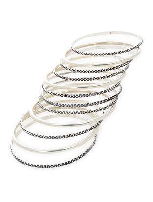Classic Silver Bangles Set of 12 (Bangle Size -2)