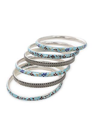 Blue-Multicolor Enameled Silver Bangles Set of 6 (Bangle Size -2/6)