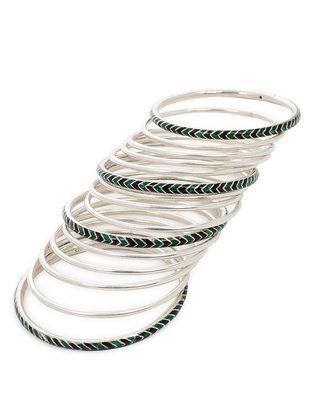 Green-Black Enameled Silver Bangles Set of 15 (Bangle Size -2/2)