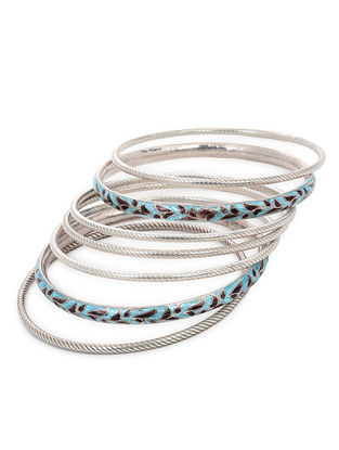 Blue-Maroon Enameled Silver Bangles Set of 7 (Bangle Size -2/8)