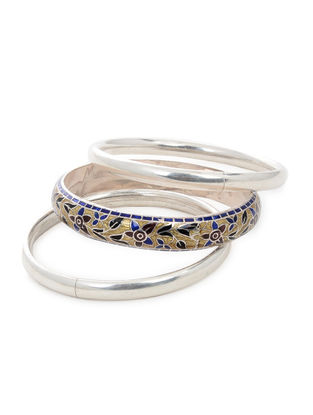 Yellow-Multicolor Enameled Silver Bangles Set of 3 (Bangle Size -2/4)