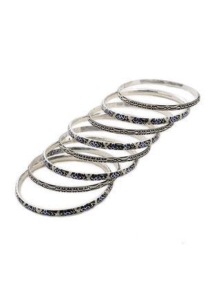 Black-Blue Enameled Silver Bangles Set of 8 (Bangle Size -2/8)