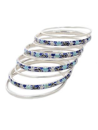 Blue-Multicolor Enameled Silver Bangles Set of 9 (Bangle Size -2/6)