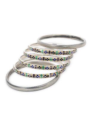 Multicolored Enameled Silver Bangles Set of 6 (Bangle Size -2/8)