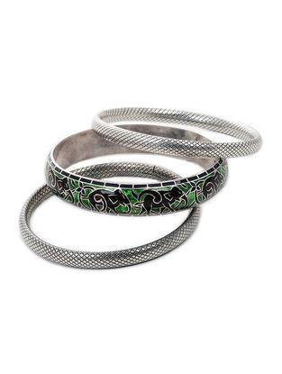 Green-Black Enameled Silver Bangles Set of 3 (Bangle Size -2/6)