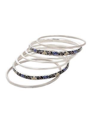 Black-Multicolor Enameled Silver Bangles Set of 7 (Bangle Size -2/8)
