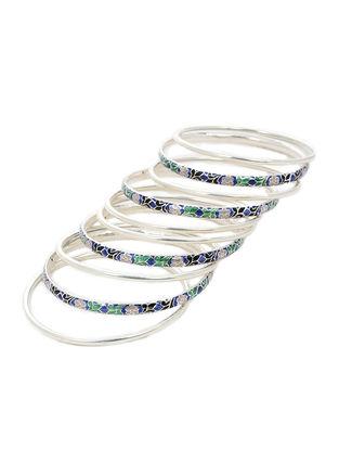 Black-Multicolor Enameled Silver Bangles Set of 10 (Bangle Size -2/8)