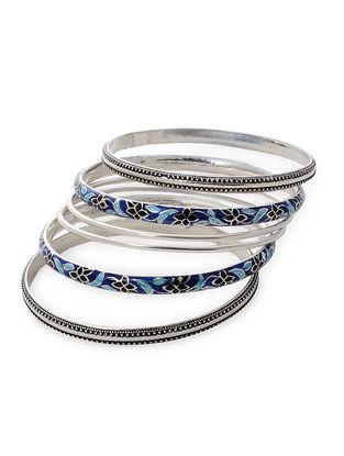 Blue-Black Enameled Silver Bangles Set of 6 (Bangle Size -2/6)