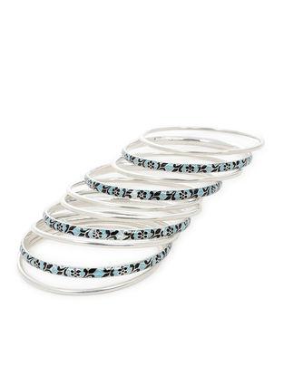 Blue-Black Enameled Silver Bangles Set of 10 (Bangle Size -2/10 )