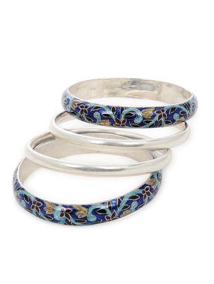 Blue-Multicolor Enameled Silver Bangles Set of 4 (Bangle Size -2/8)