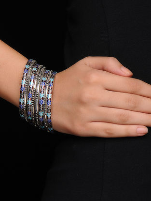 Brown-Multicolor Enameled Silver Bangles Set of 8 (Bangle Size -2/8)
