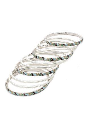 Multicolored Enameled Silver Bangles Set of 10 (Bangle Size -2/8)