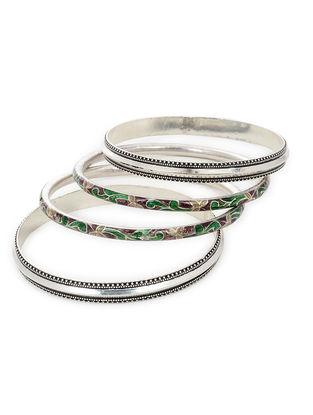 Green-Brown Enameled Silver Bangles Set of 4 (Bangle Size -2/6)