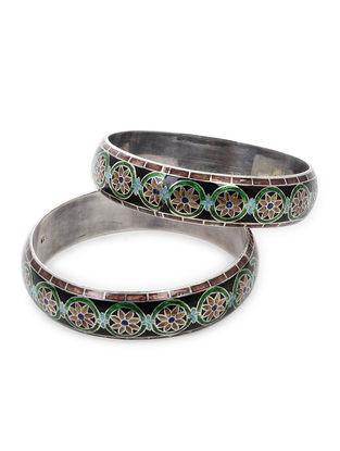 Multicolored Enameled Silver Bangles Set of 2 (Bangle Size -2/8)