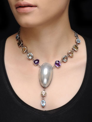 Amethyst and Citrine Silver Necklace