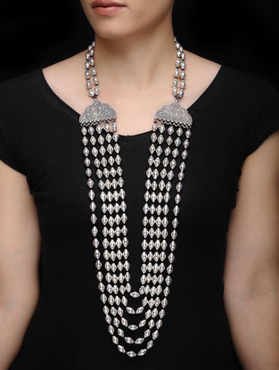 Dholki Beaded Silver Necklace with Floral Motif