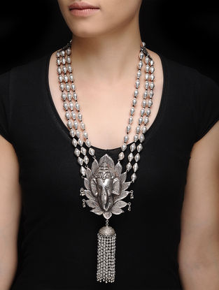Dholki Beaded Silver Necklace with Lord Ganesha Design