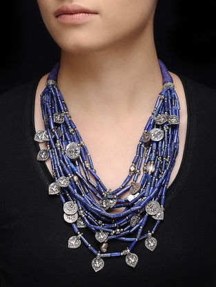 Lapis Lazuli Beaded Silver Necklace with Deity Motif