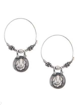 Tribal Silver Earrings with Lord Ganesha Motif