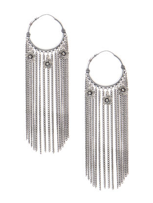 Tribal Silver Earrings with Floral Design
