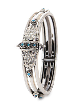 Blue Hinged Opening Tribal Silver Bangle (Bangle Size -2/4)