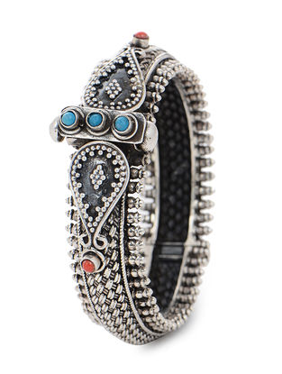 Red-Blue Hinged Opening Tribal Silver Bangle (Bangle Size -2/2)