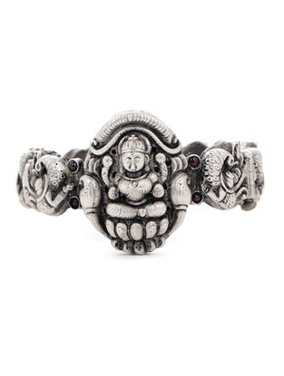 Pink Hinged Opening Tribal Silver Bangle with Deity Motif (Bangle Size -2/4)