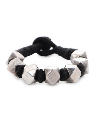 Black Thread Tribal Silver Bracelet