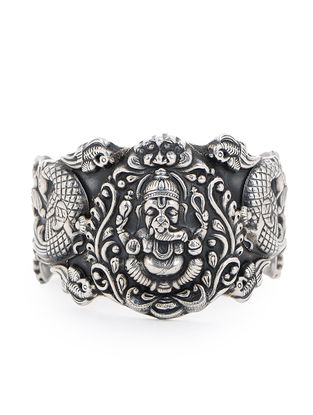 Tribal Silver Cuff with Lord Ganesha Motif