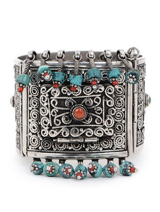Red-Turquoise Tribal Silver Bangle (Bangle Size -2/6)