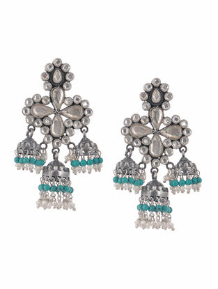 Turquoise and Pearl Glass Silver Jhumkis