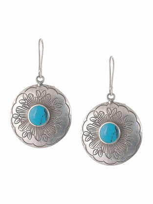 Turquoise Tribal Silver Earrings