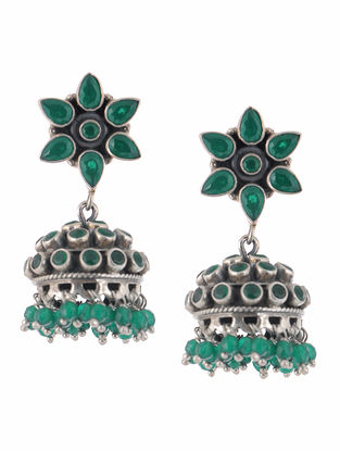 Emerald Silver Jhumkis with Floral Design