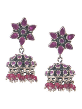 Ruby Silver Jhumkis with Floral Design