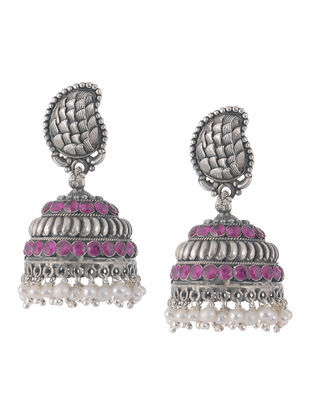 Ruby and Pearl Silver Jhumkis with Floral Design