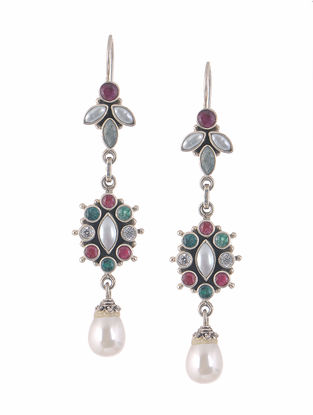 Ruby and Emerald Silver Earrings with Pearls