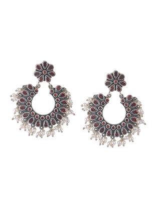 Garnet Silver Earrings with Pearls