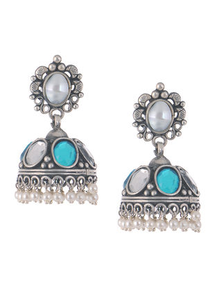 Kundan-inspired Silver Earrings with Pearls