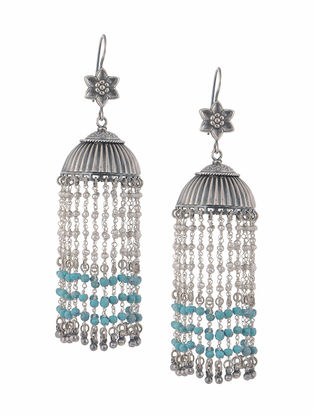 Turquoise and Pearl Silver Jhumkis