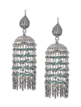 Emerald Silver Jhumkis