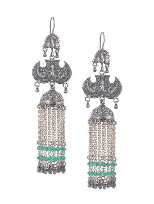 Green Onyx Silver Jhumkis with Peacock Design