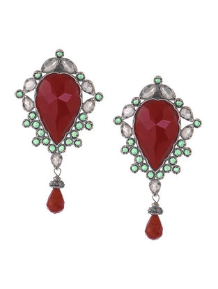 Red-Green Silver Earrings