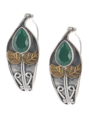 Emerald Dual Tone Silver Earrings