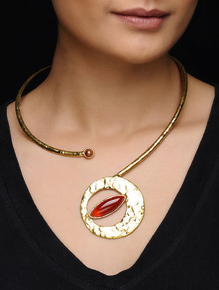 Ruby Gold Tone Necklace